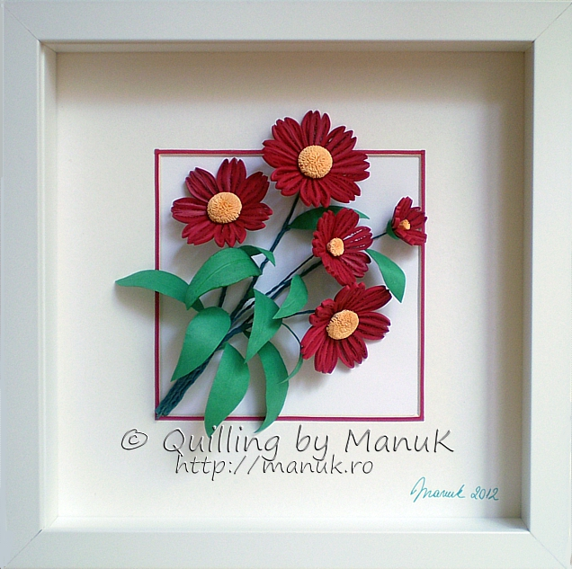 Quilled Scarlet Red Flowers in a Shadowbox Frame
