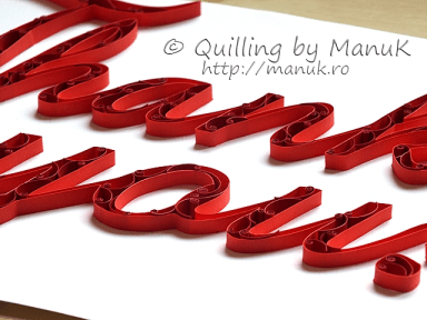 "Quilled ""Thank You!"" Paper Graphic - Side View"