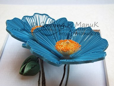 Quilled Blue Poppy - Detail