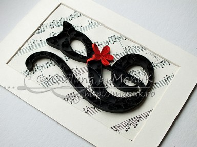 Quilled G Clef Cat