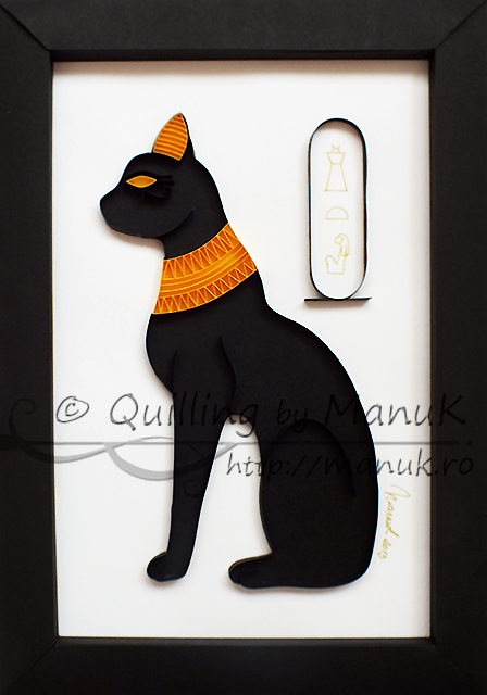 Quilled Egyptian Cat Statue – Paper Graphic