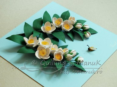 Quilled Jasmine Flowers - Side View