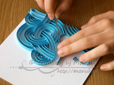 Quilled Blue Swirls - Work in Progress