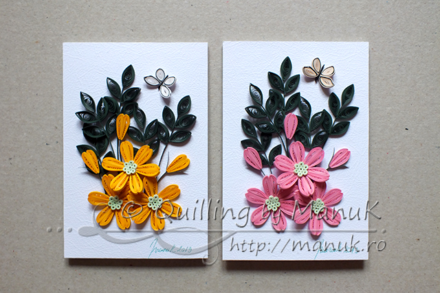 Quilled Flower Arrangement in Pink and Yellow