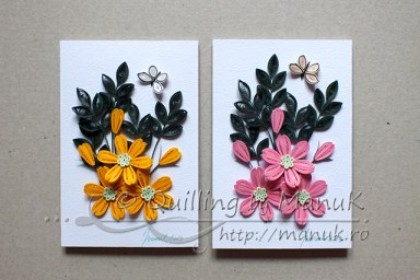 Simple Quilled Flower Arrangement in Pink and Yellow