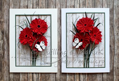 Panels with Quilled Gerbera Flowers and Butterfly