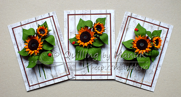 Panels with Quilled Sunflowers