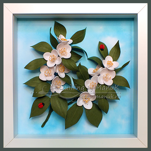 Quilled Jasmines in a Shadowbox Frame