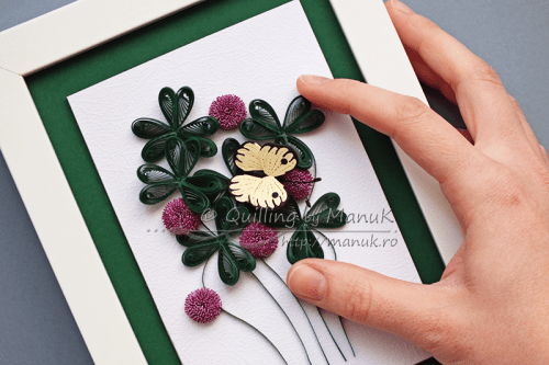 Quilled Clover with Purple Flowers and a Butterfly - Detail