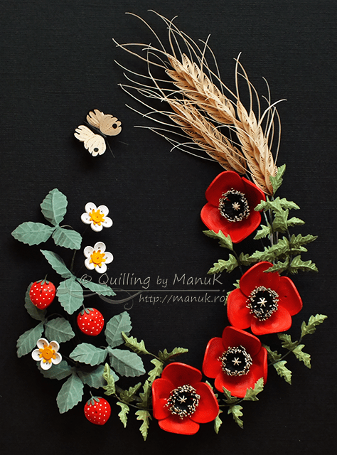 Quilled Poppies, Wheat and Strawberries and My New Etsy Shop