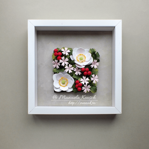Floral Tile II - Quilled Anemones and Geranium - Shadowbox Frame