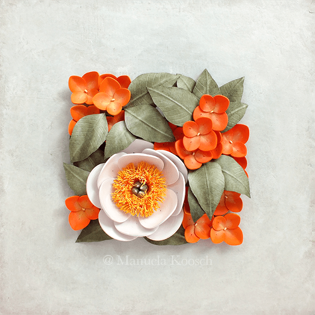 Quilled Peony Wall Art with Hydrangea Flowers – Floral Tile