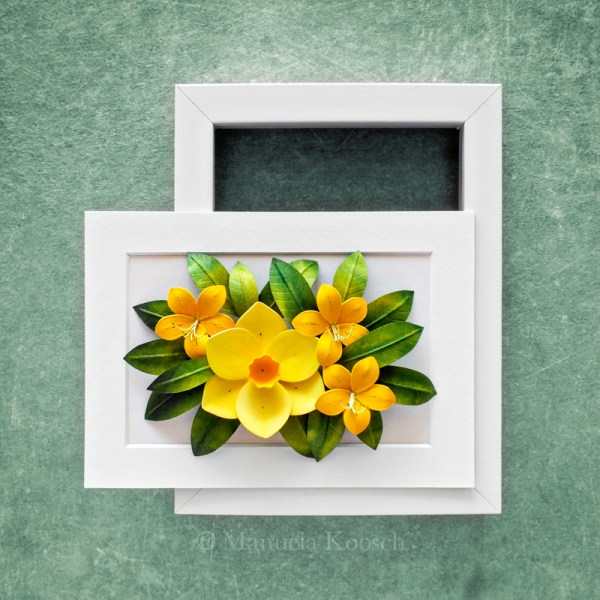 Flowers for Gemini - Paper Quilling Yellow Daffodil Azalea Wall Art