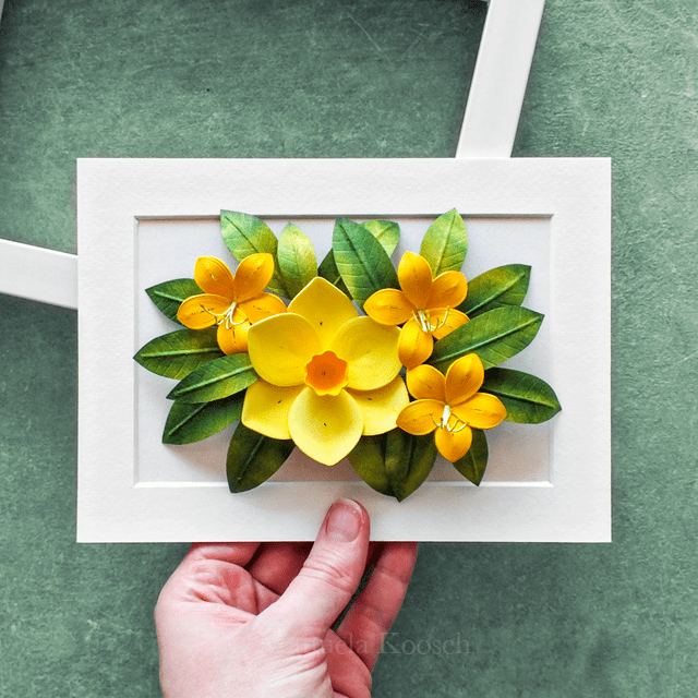 Flowers for Gemini – Paper Quilling Daffodil and Azalea Flowers Wall Art