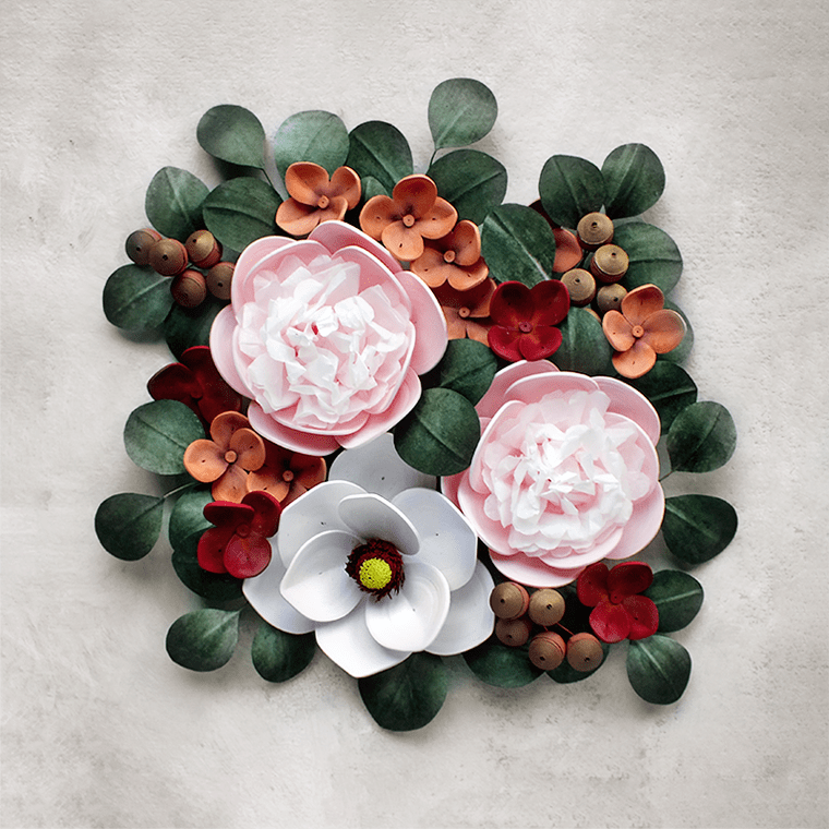 Paper Quilling Flower Arrangement – Peonies, Magnolia and Hydrangea Wall Art