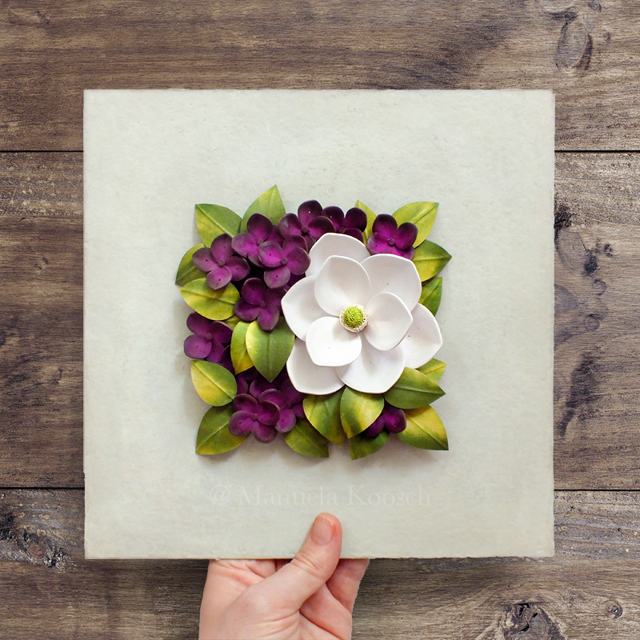 Quilled Magnolia and Hydrangea Flowers Wall Art – Floral Tile