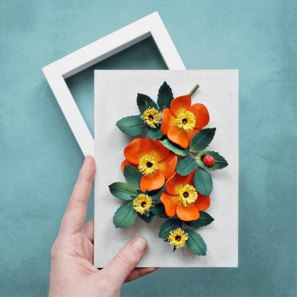Paper Quilling Rose - Orange Wild Rose Wall Art