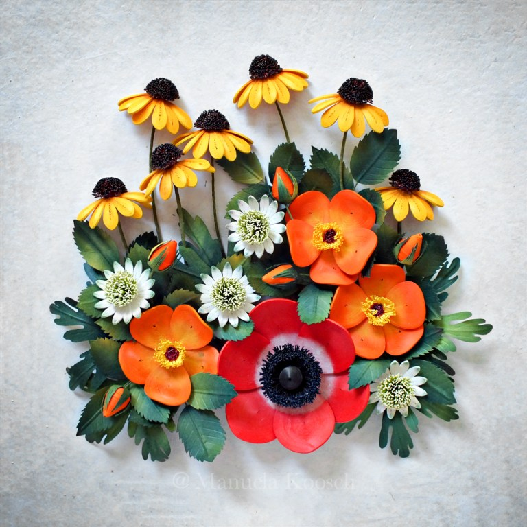 Paper Quilling Summer Flowers - Anemone, Coneflower, Astrantia and Wild Rose