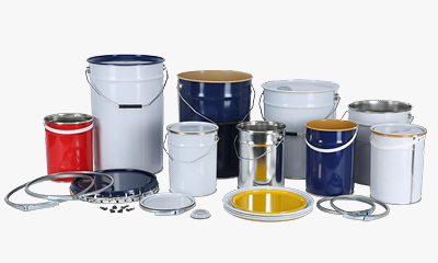 metal containers including lever lid tins, steel drums and tinplate pail