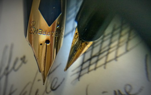 Comparing the Sheaffer and the Pilot Elite extrafine (EF) nibs.