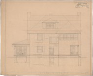 4. House for W. A. Wilcox, 165 Elizabeth Street, Hartford, 1919. Gift of Colonel and Mrs. Richard L. Shaw, 1999.100.389.3 [South elevation].