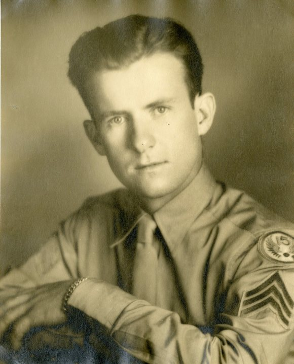 This photograph, taken during a visit to Hartford in 1943, shows a more mature young man. Note the 15th Air Force shoulder patch on his shirt.