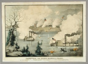 "Though the artist took some license in depicting the ""City"" class ironclads in this Kellogg lithograph of the battle for Fort Henry, their importance to the Union victory was clear. CHS 1992.83.0"