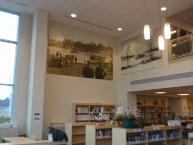 Goodwin College in East Hartford: installing 4 large historic photographs of the Connecticut River in the school's new library