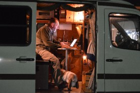 An author at work in his mobile office