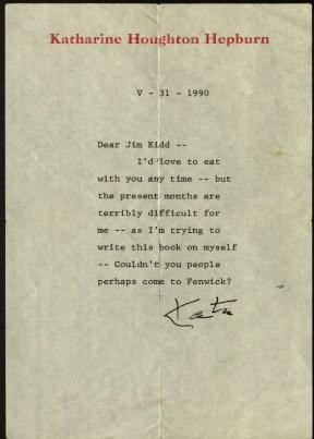 Letter from Katharine Hepburn to Reverend James Kidd, 1991. Ms 101868