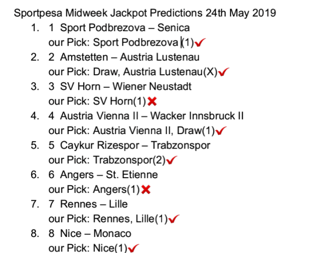 Teams to win on Thursday 30th May 2019