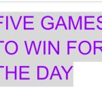 Five games to win Wednesday 22/09/2021