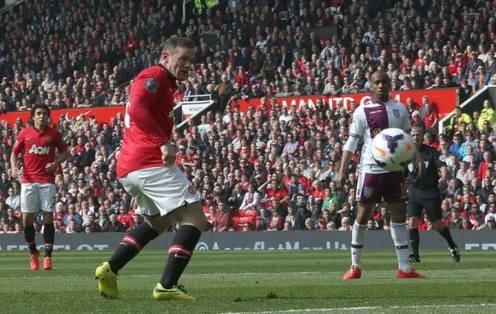 Rooney scoring the first against Aston Villa