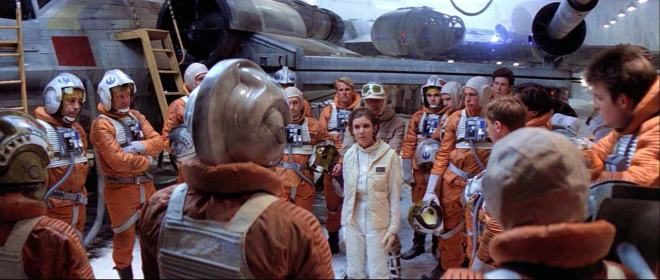 Leia briefing pilots in The Empire Strikes Back