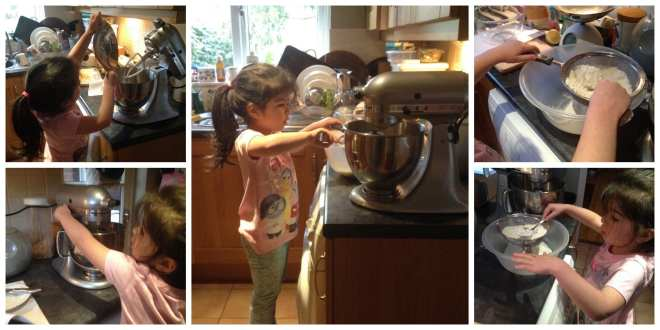 Daughter mixing Mother's Day biscuits in kitchen