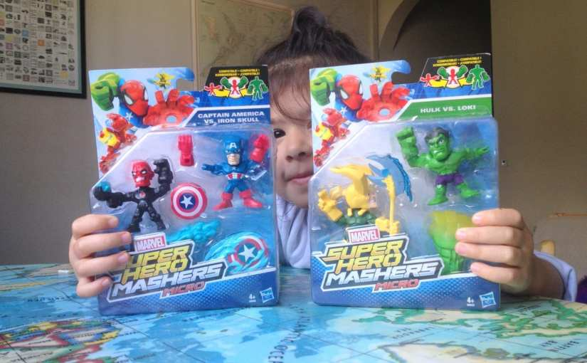 Marvel Super Hero Mashers Micro Figure 2 Pack, Captain America vs. Iron Skull. Hulk vs. Loki, Mashers Micros,
