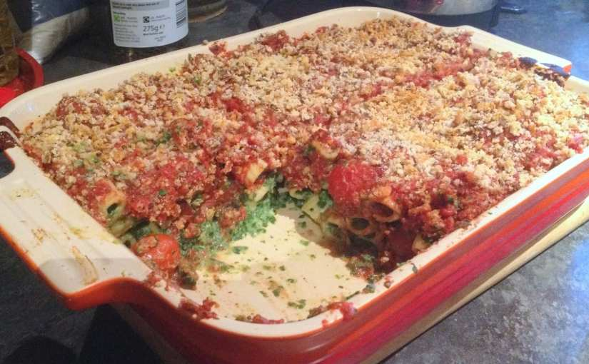 Spinach and Ricotta Pasta Bake Recipe (with Cherry Tomatoes and Chilli)