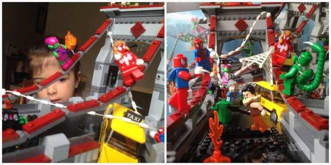 LEGO Marvel Superheroes Spider-Man Web Warriors Ultimate Bridge Battle 76057 playing