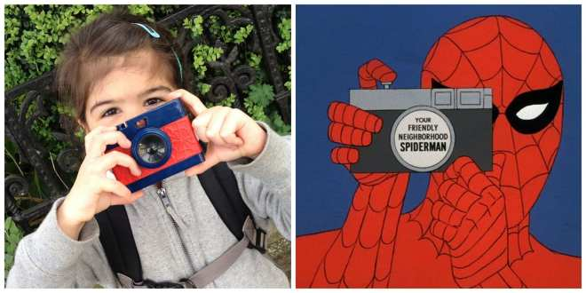 Girl with a Spider-Man camera toy seventies cartoon