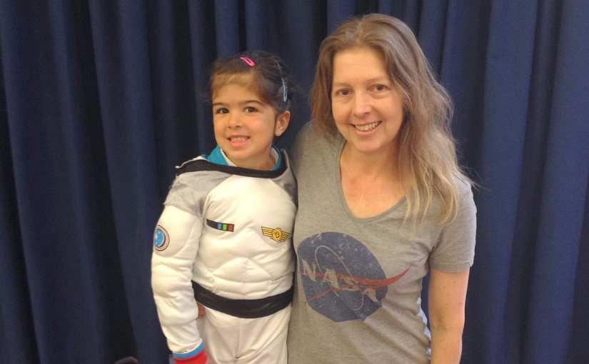 Girl as Astronaut Tim Peake, mum in NASA tshirt