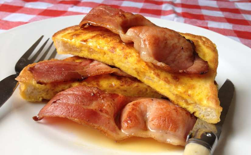 French toast with smoked bacon and maple syrup recipe