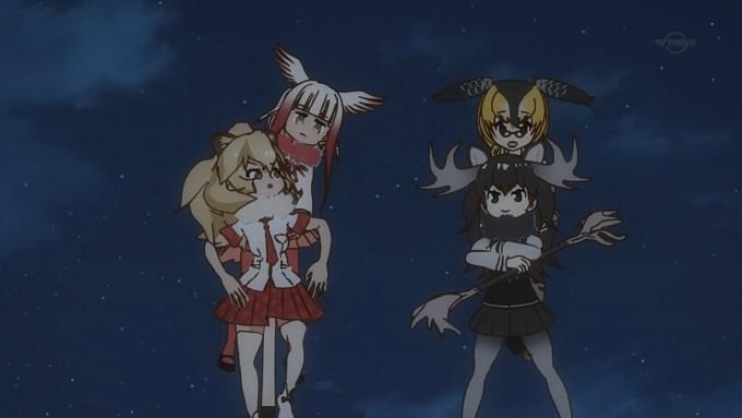 トキとアリツカゲラとライオンとヘラジカ(けものフレンズ12話画像)