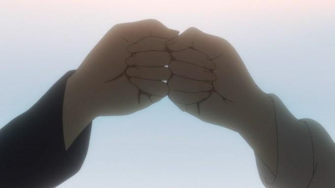 霞ヶ丘詩羽と澤村スペンサー英梨々のグータッチ,冴えない彼女の育てかた2期10話より