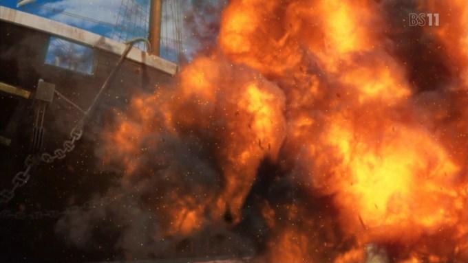爆発する蒸気船