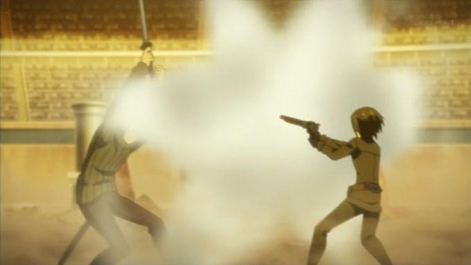 王様に銃を撃つキノ