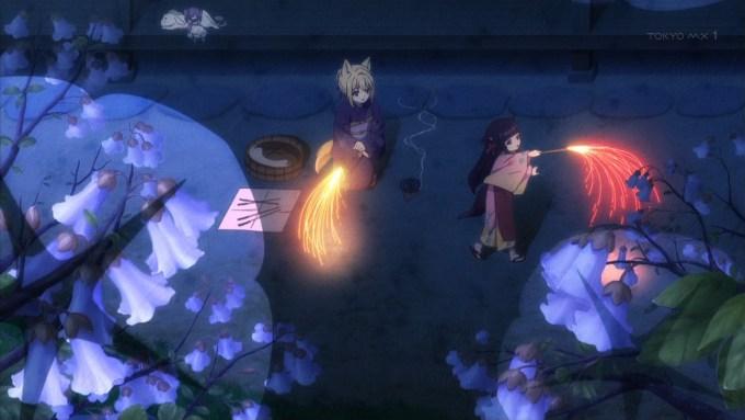 花火をする桐と櫻