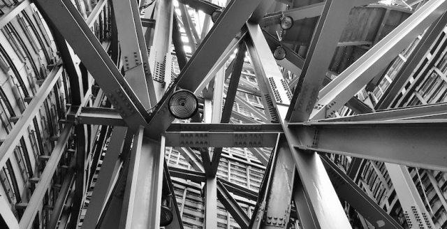 Below a suspension bridge