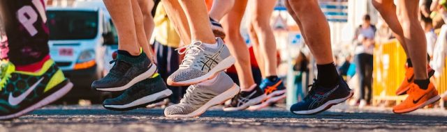 Running shoes before a race