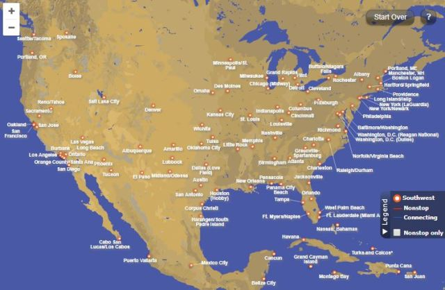 Southwest Airlines Destinations Map 2017 Cheap Airlines