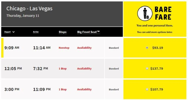 Itinerary from Chicago to Las Vegas Spirit Airlines  Cheap Airlines